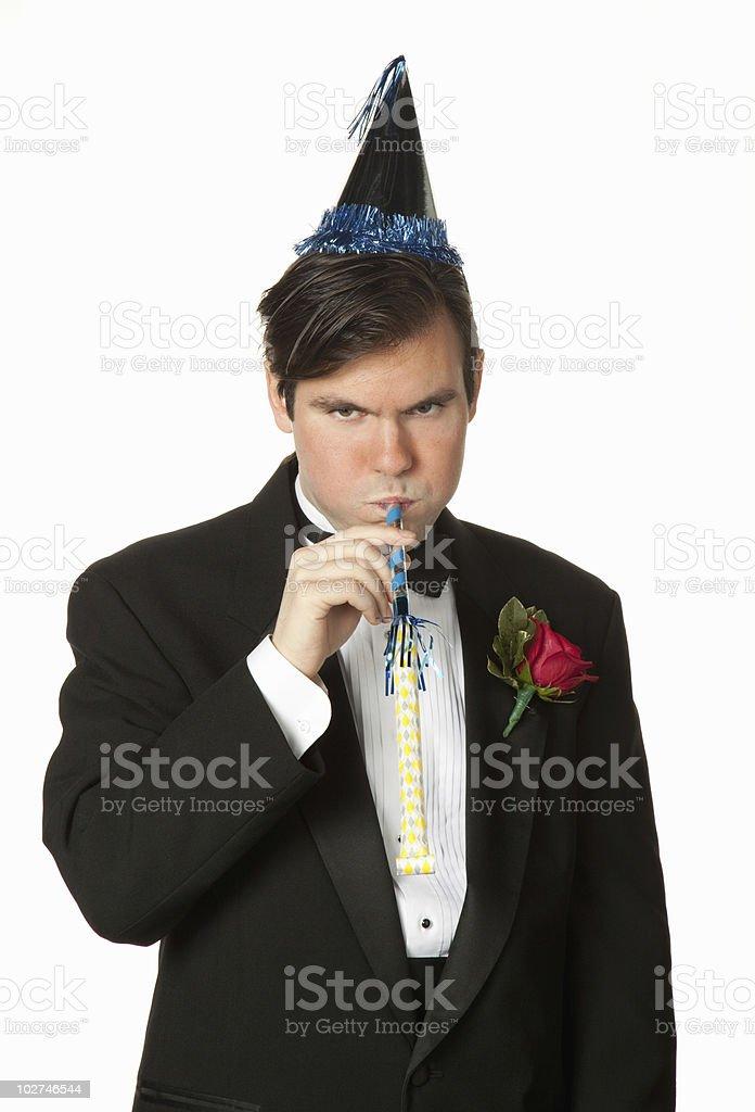 Party goer wearing tuxedo royalty-free stock photo