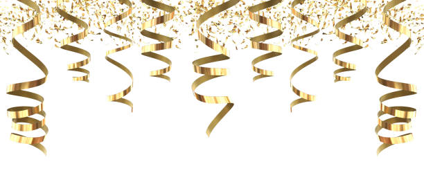 party golden streamers rich carnival isolated in white background - 3d rendering - serpentina imagens e fotografias de stock
