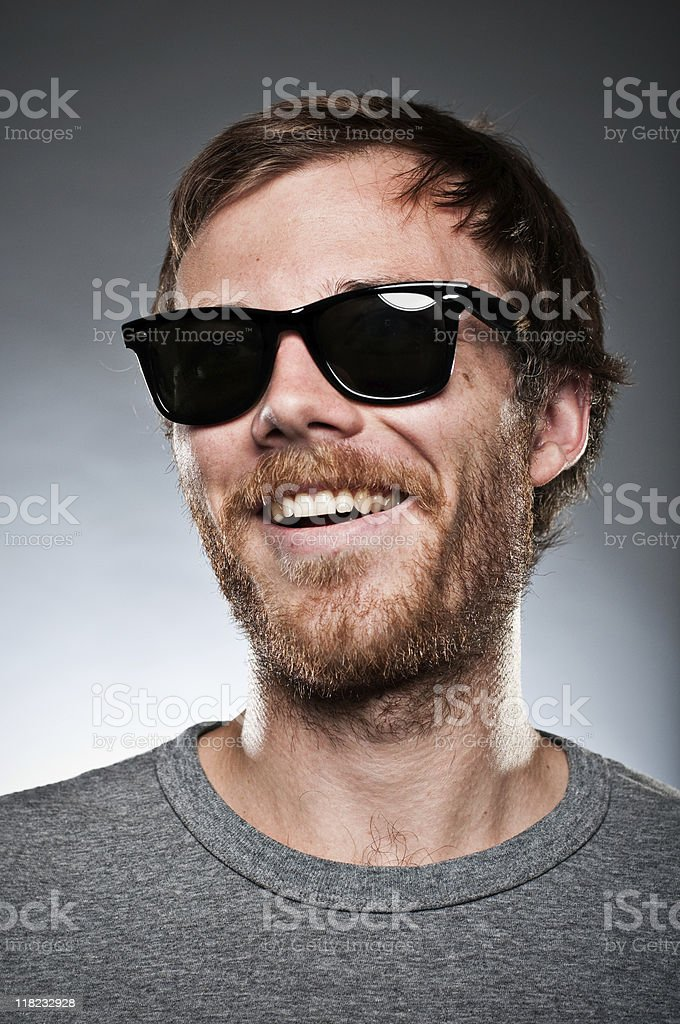 Party guy in wayfarers stock photo