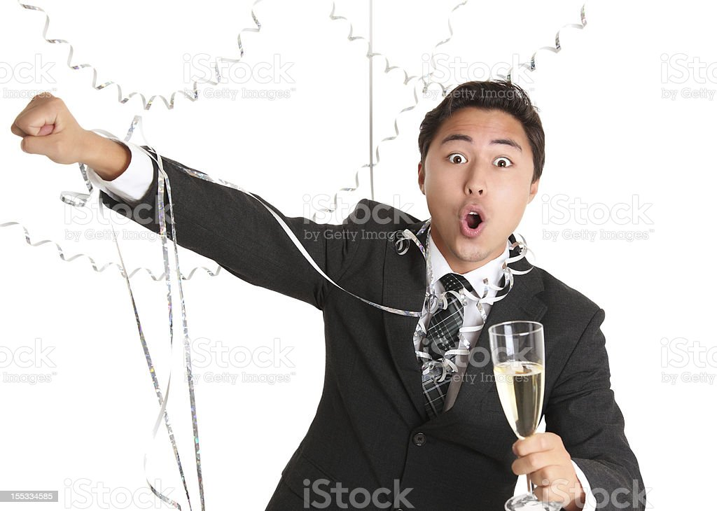 Party guy with champagne glass royalty-free stock photo