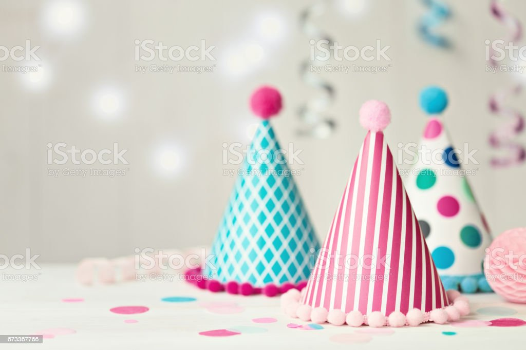 Party hat background stock photo