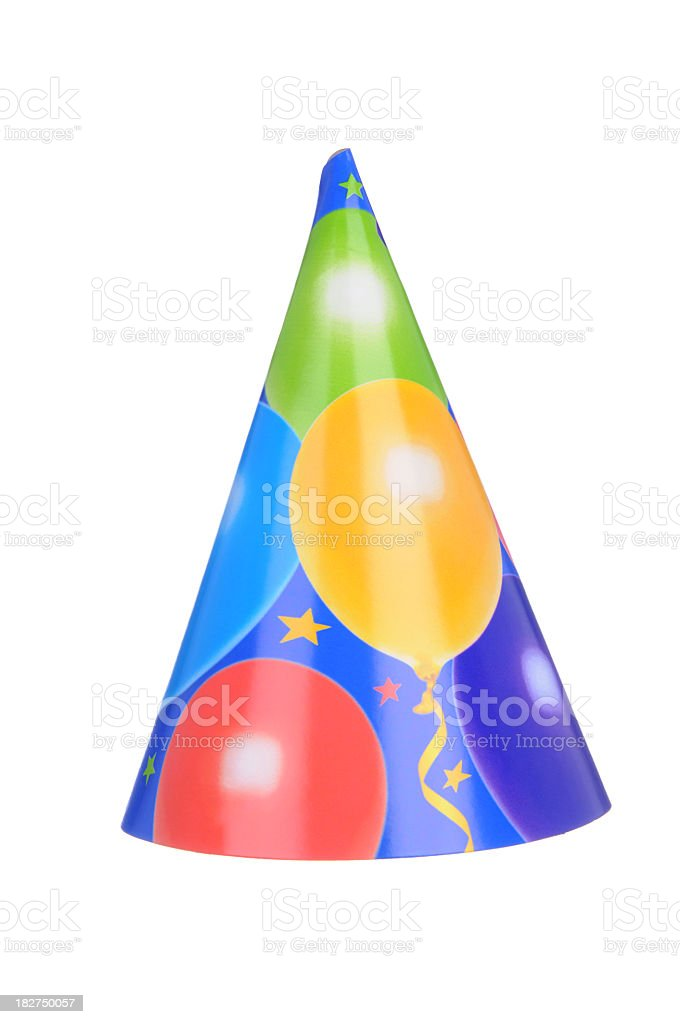 Party hat with balloon pattern on a white background  stock photo