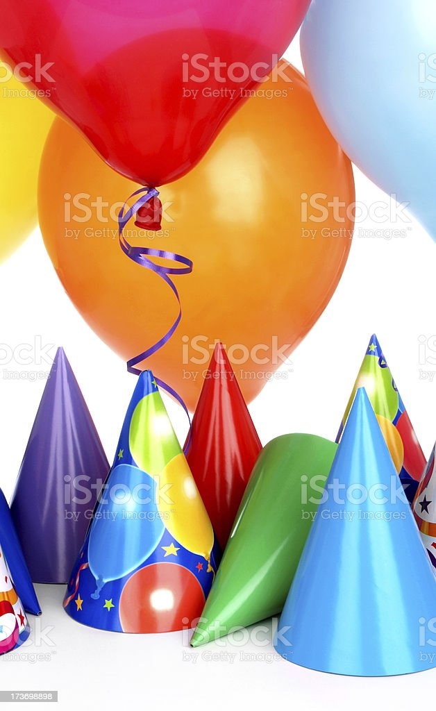 Party Hats and Floating Balloons royalty-free stock photo