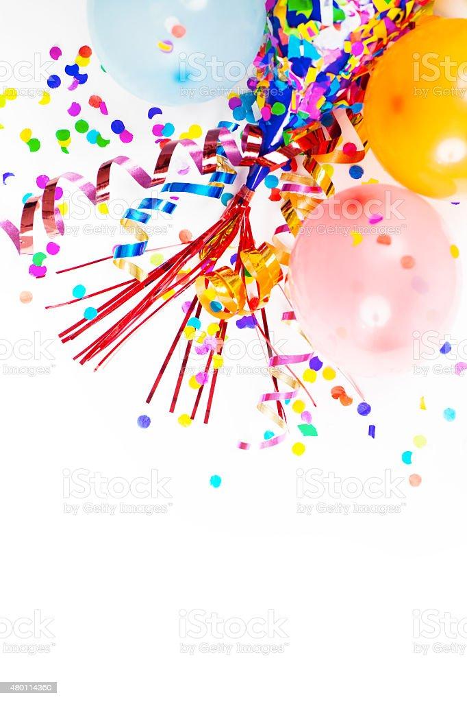 Party Hats, Balloons, Confetti, Ribbons stock photo
