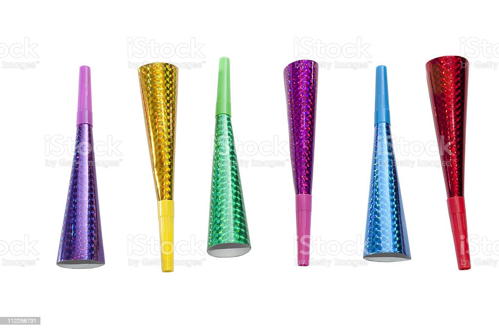 Party horn blowers stock photo