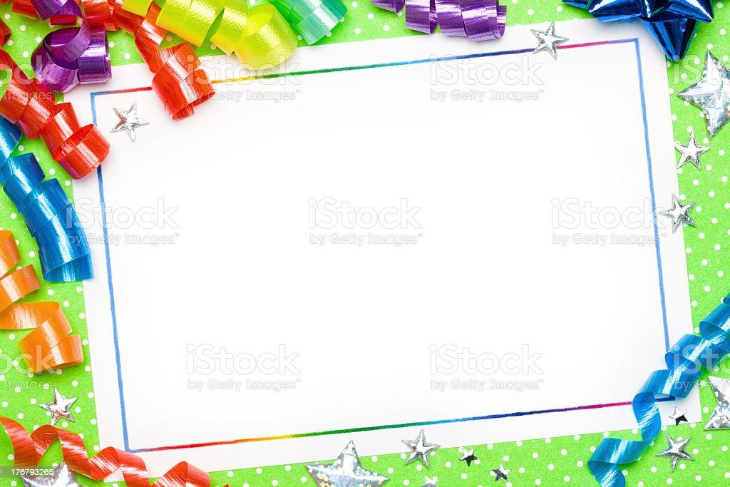 Party Invitation Card Whiteboard Decoration Stock Photo