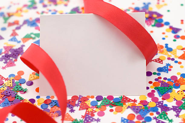 Party Invitation With Red Ribbon and Confetti. stock photo