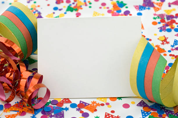Party Invitation With Ribbon and Confetti. stock photo