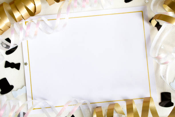 Party invitation with ribbons stock photo