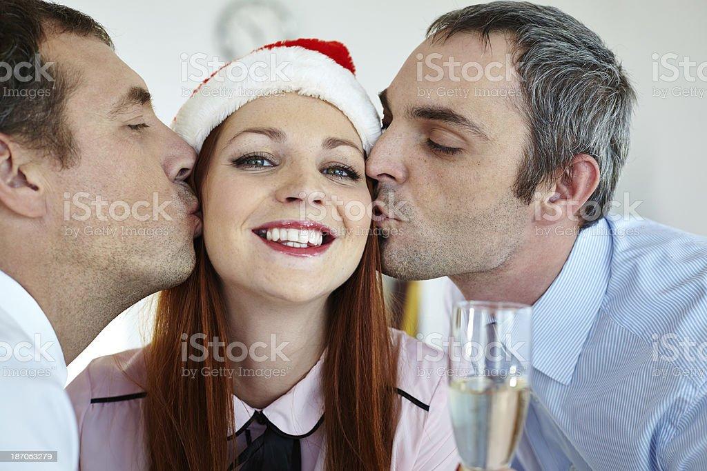Party kiss royalty-free stock photo