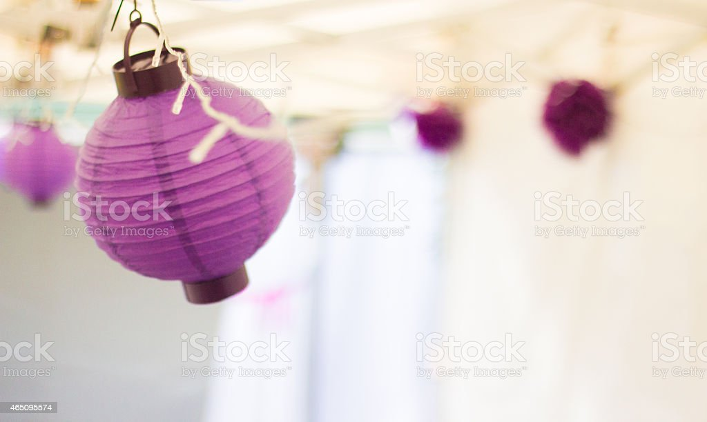 Party Lanterns swinging in the breeze stock photo