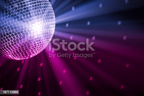 party lights disco ball, blue and purple colors