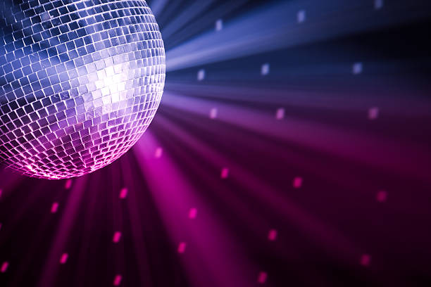 party lights disco ball party lights disco ball, blue and purple colors disco ball stock pictures, royalty-free photos & images