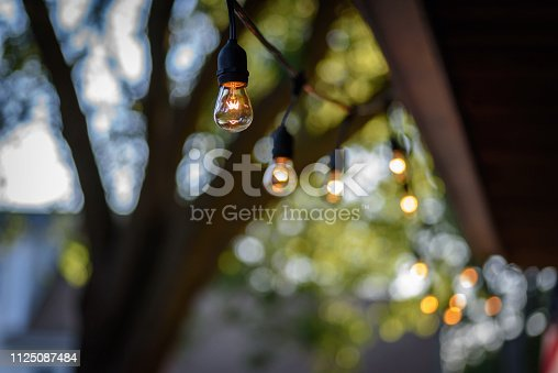 Retro Edison style string lights hanging in backyard with soft focus trees