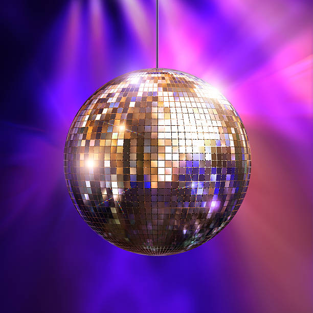 Party lights with disco ball stock photo