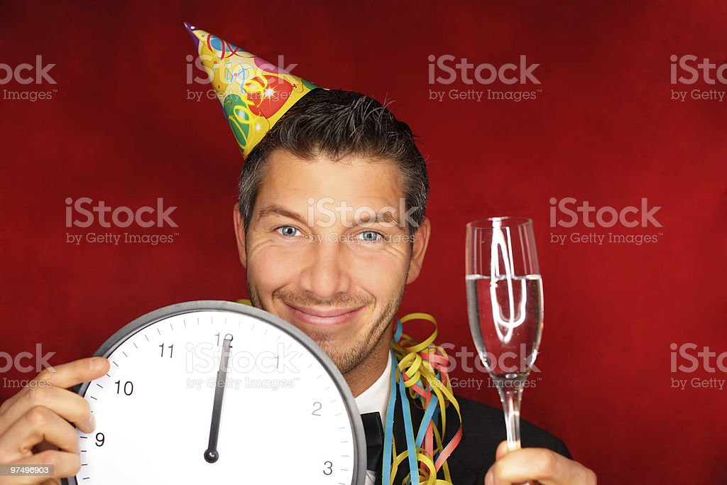 party man with champagne and clock royalty-free stock photo