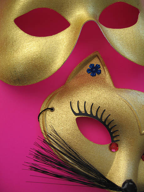 party masken 1 - rosa camo party stock-fotos und bilder