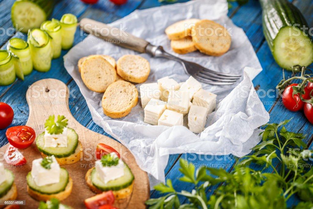 Party mini snacks stock photo