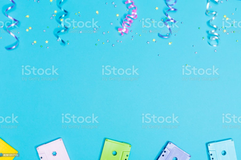 Party music theme with cassette tapes stock photo