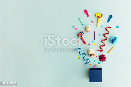 istock Party objects in a gift box 680645932
