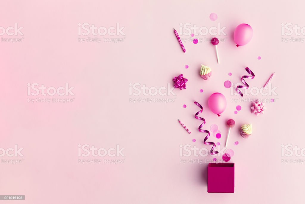 Party objects in a gift box royalty-free stock photo