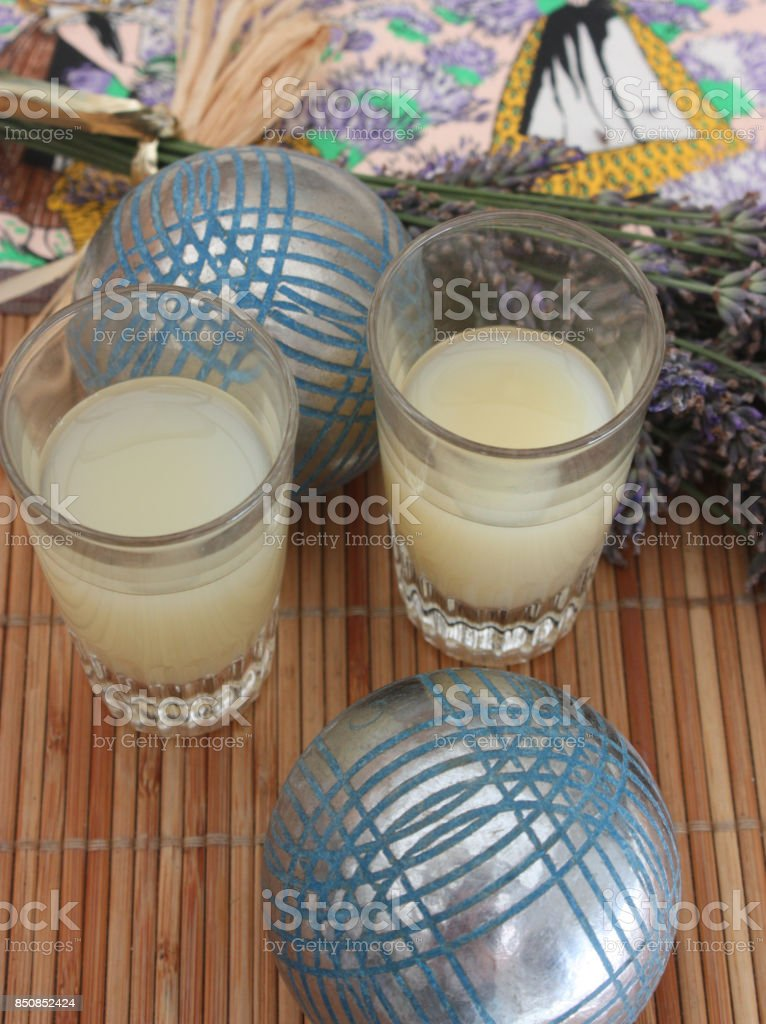 Party of petanque  glass of pastis  Provence stock photo