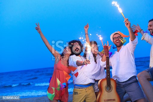471113366istockphoto Party on the beach with fireworks 528895302