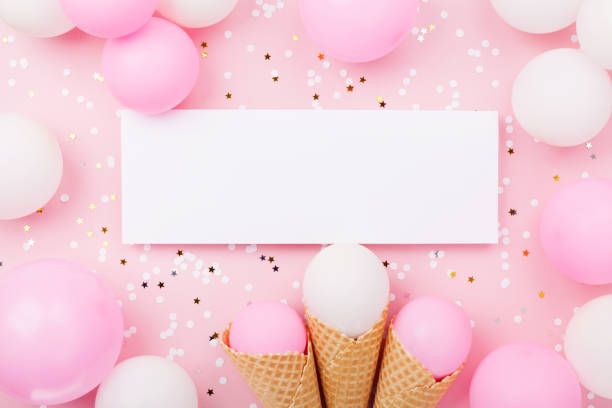 Party Or Birthday Mockup With Paper Card Pastel Balloons And Confetti On Pink Table Top