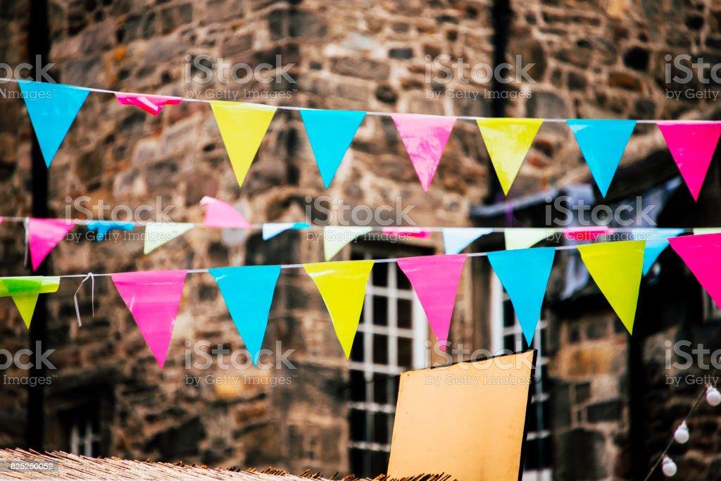 Party pennants at street - fotografia de stock