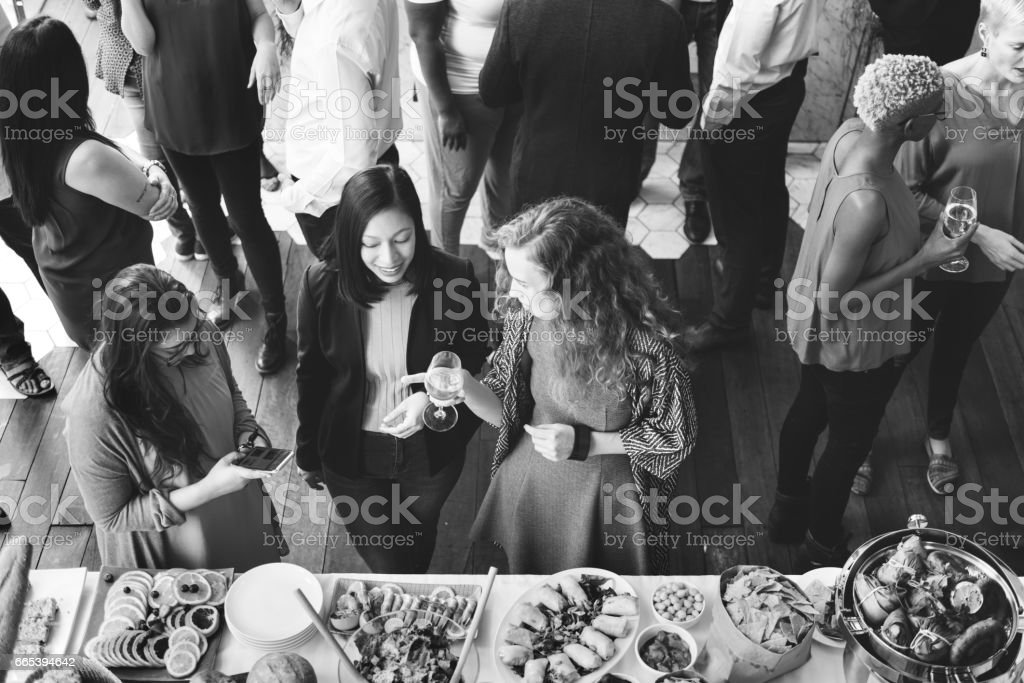 Party People Communication Talking Happiness Concept stock photo