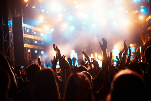 Party people enjoy concert at festival. Summer music festival stock photo