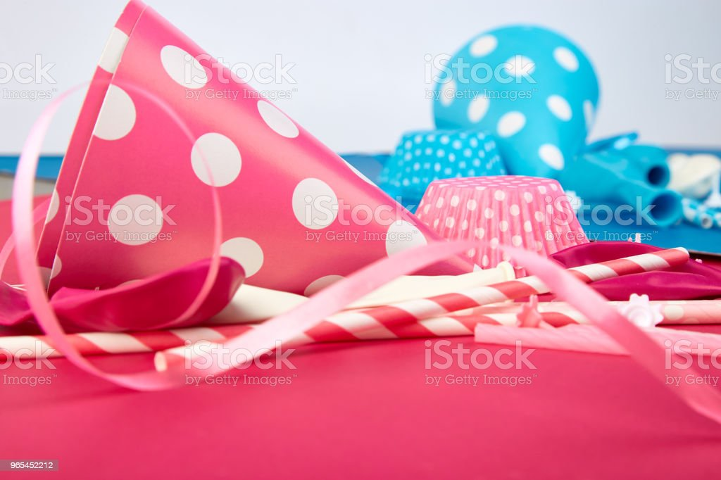 Party pink and blue paper hat. zbiór zdjęć royalty-free