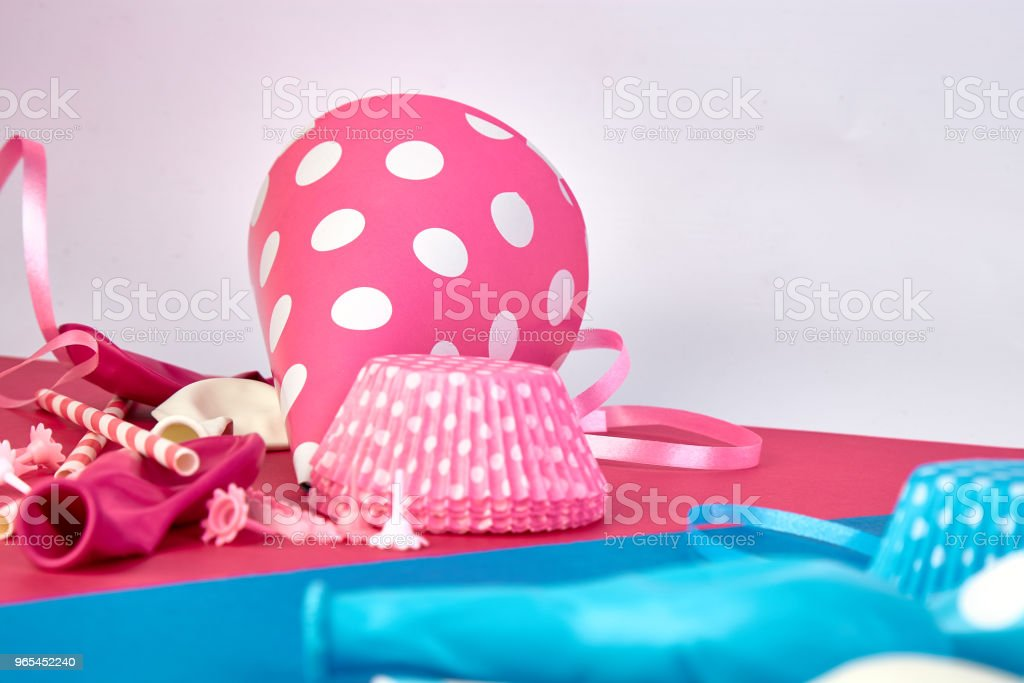 Party pink and blue paper hat. royalty-free stock photo