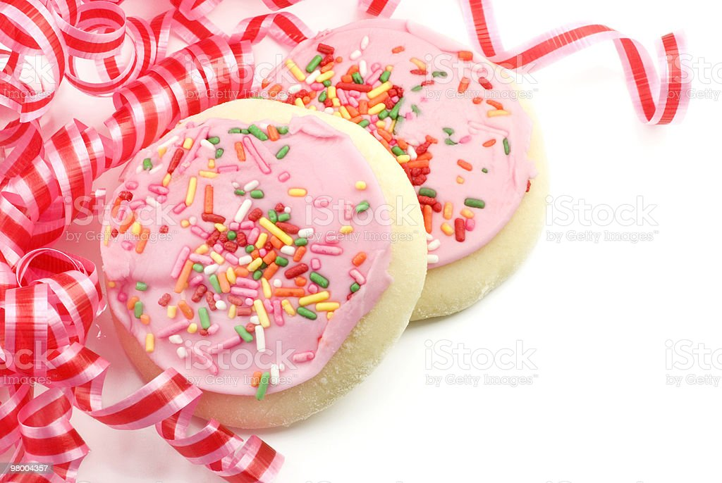 Party Pink Frosted Sugar Cookies royalty-free stock photo