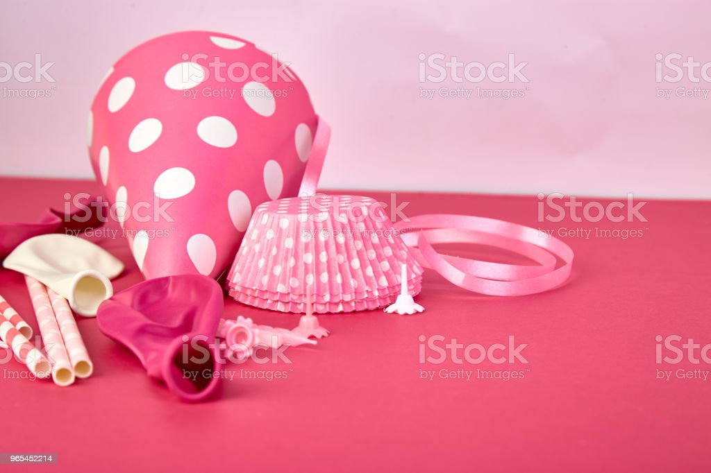 Party pink paper hat. royalty-free stock photo