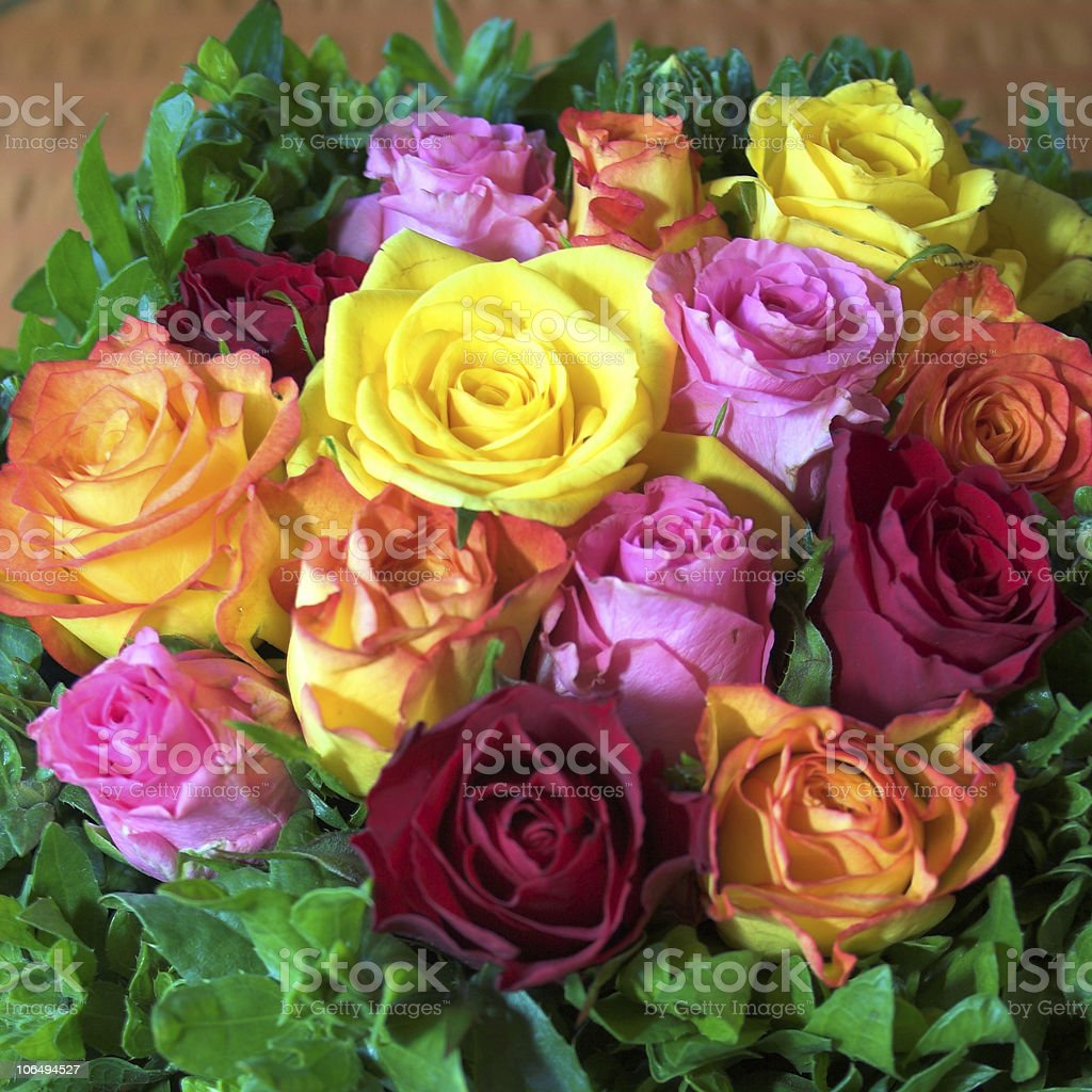 Party roses arranged in variety of color royalty-free stock photo