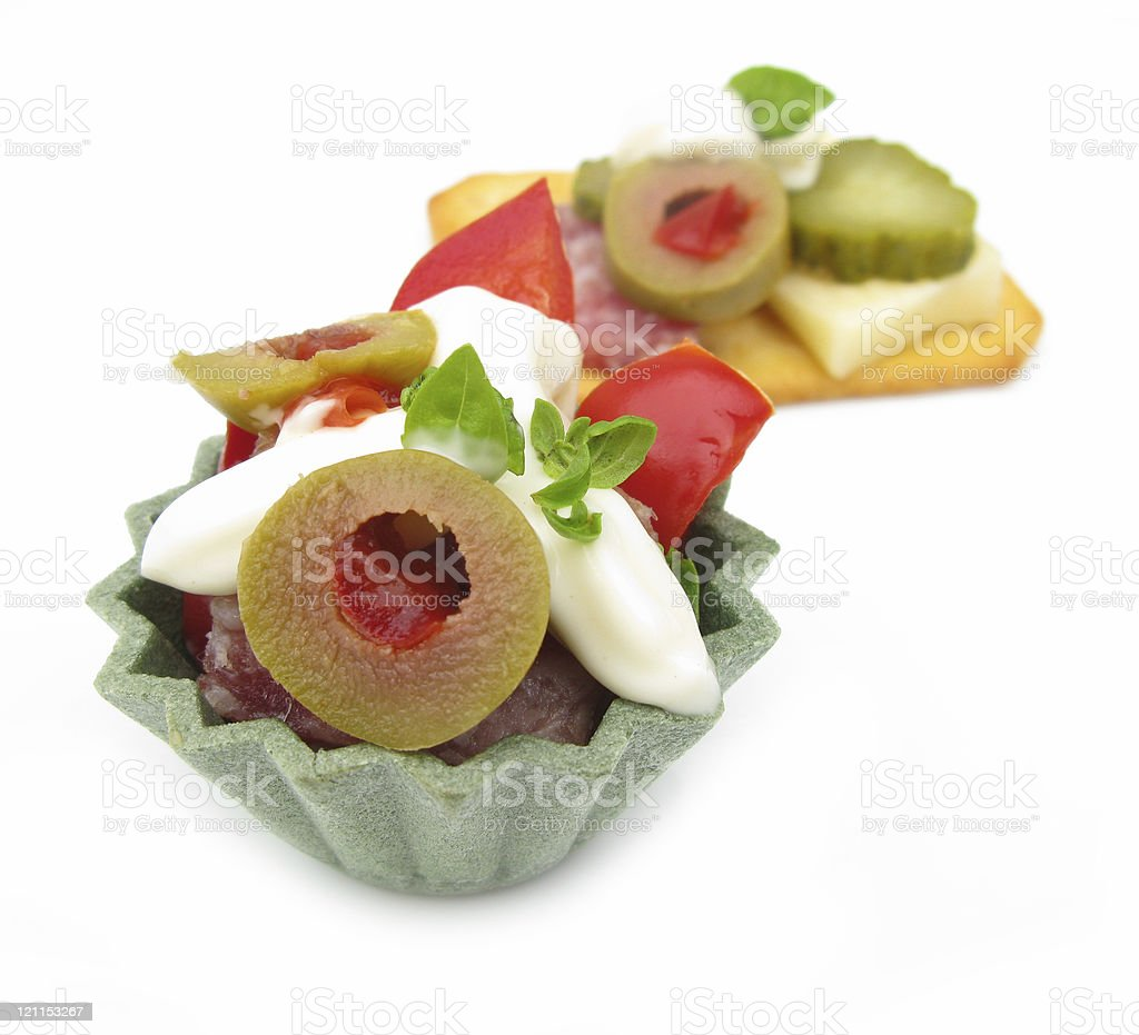 Party snacks isolated on white background royalty-free stock photo