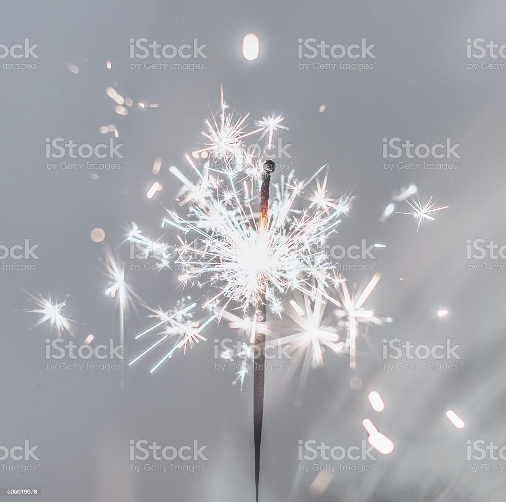 Party sparkler. Bengal fire. stock photo