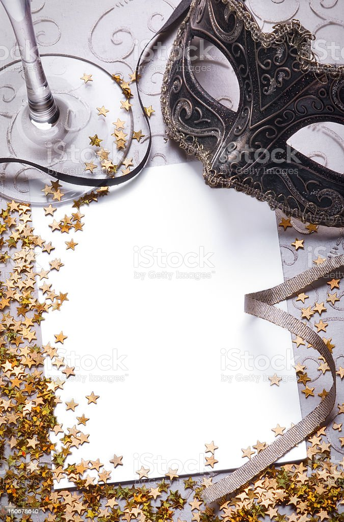 party still life with blank paper stock photo