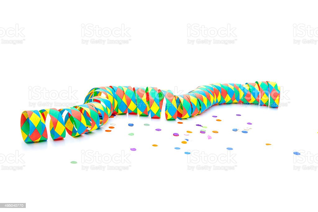 Party streamer and confetti stock photo