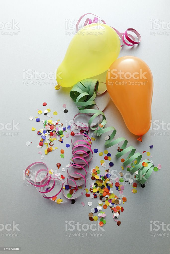 Party: Streamers, Balloons and Confetti royalty-free stock photo