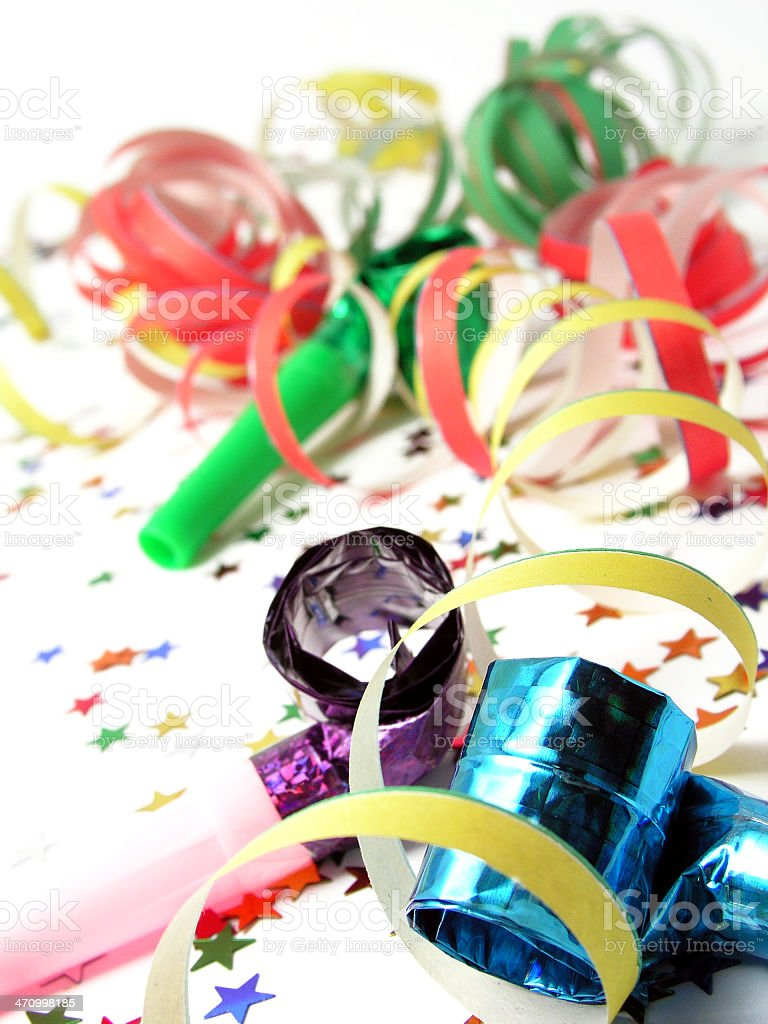 Party streamers confetti and whistles royalty-free stock photo