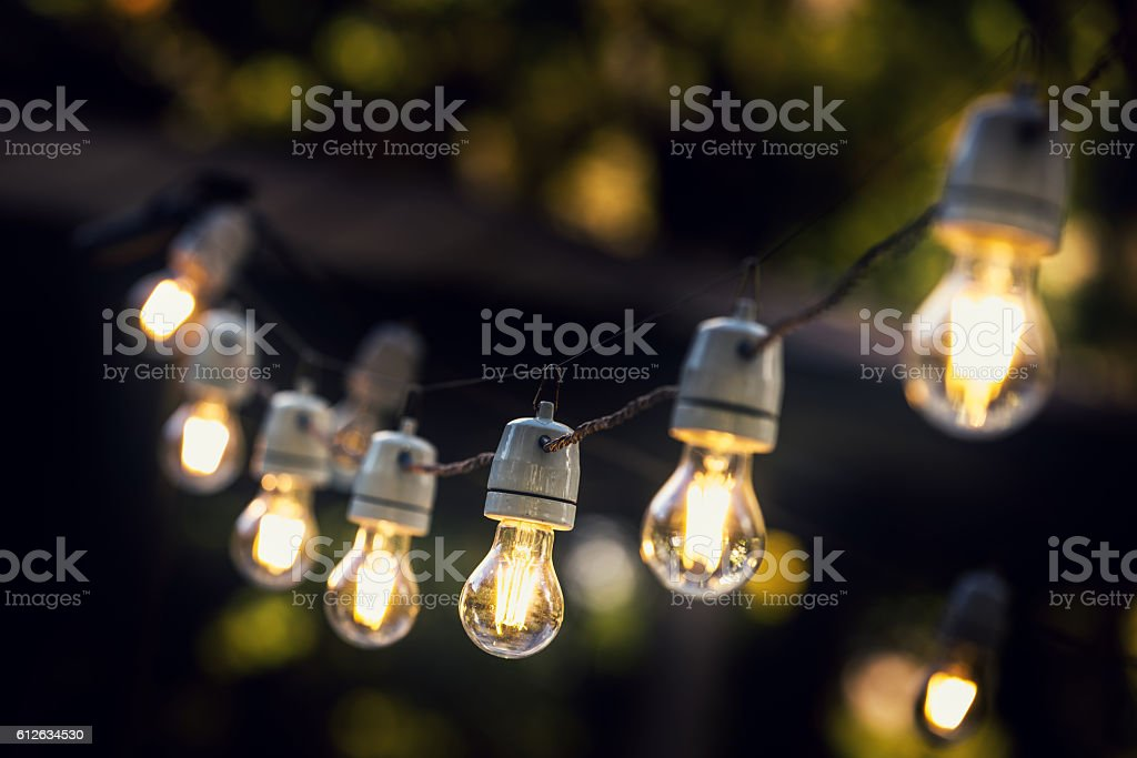 party string lights hanging in a line - foto de stock