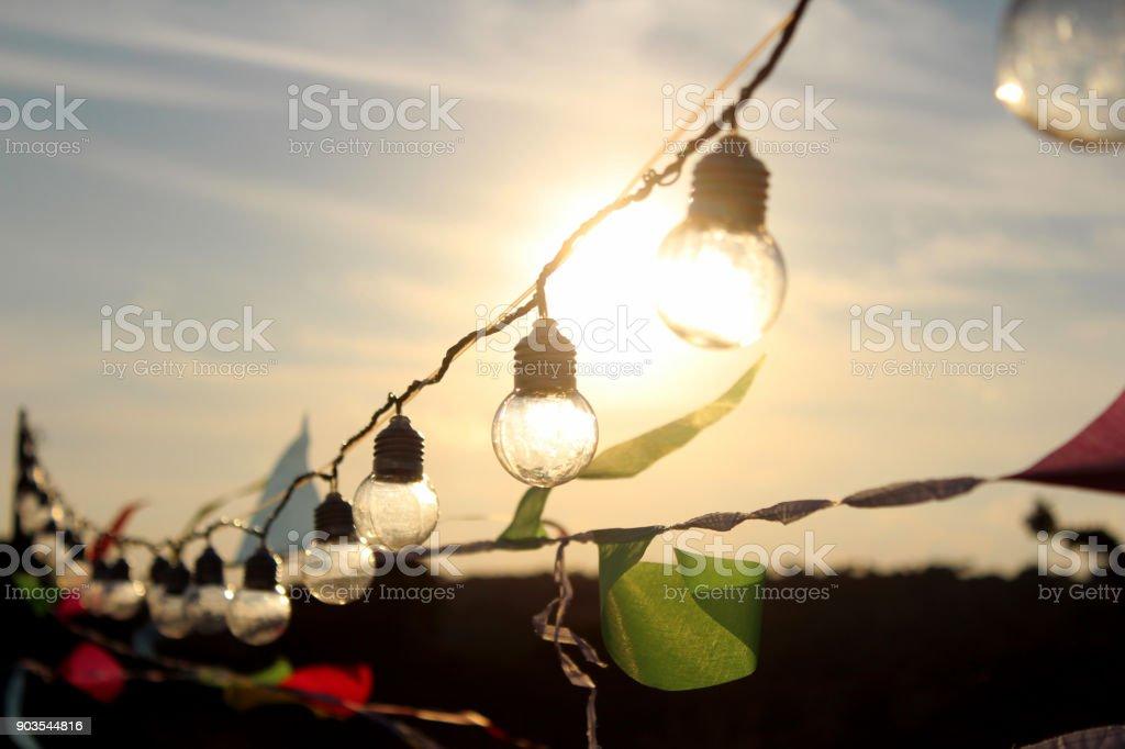 Party Lichterkette Hängen In Einer Linie Lizenzfreies Stock Foto
