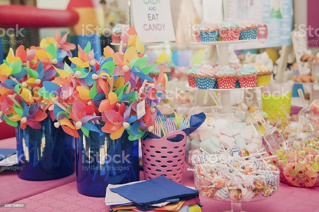 Party table baby shower stock photo
