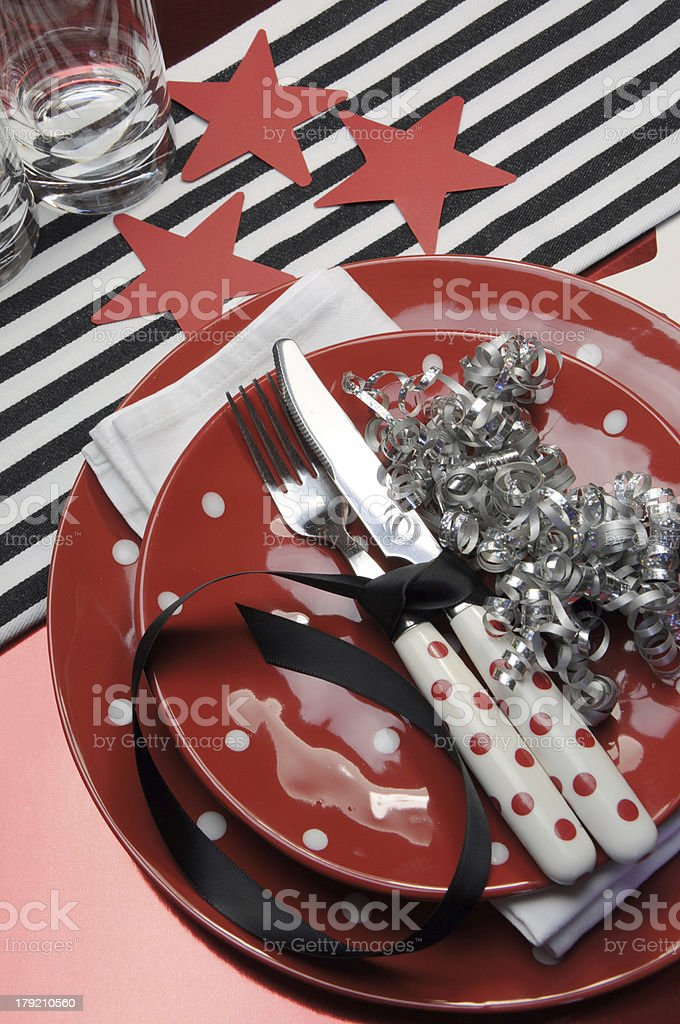 Party table in red, black and white team colors. royalty-free stock photo