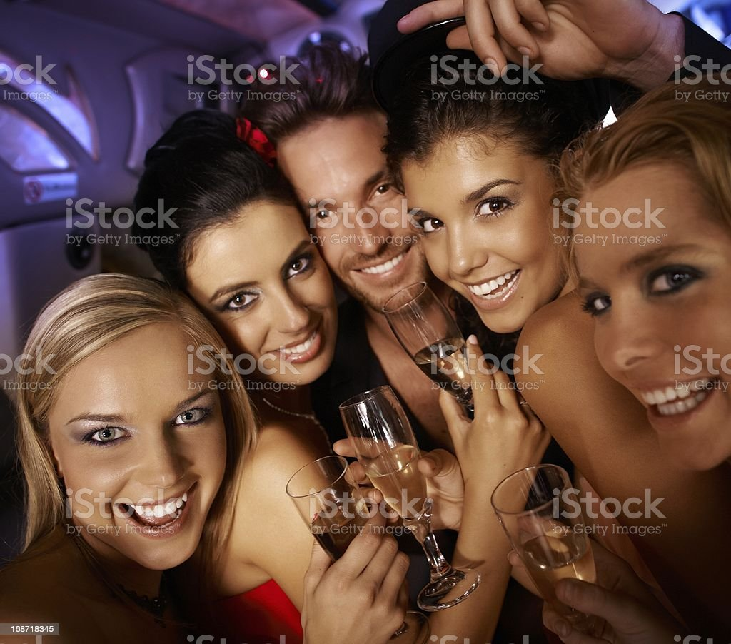Party time with happy people stock photo