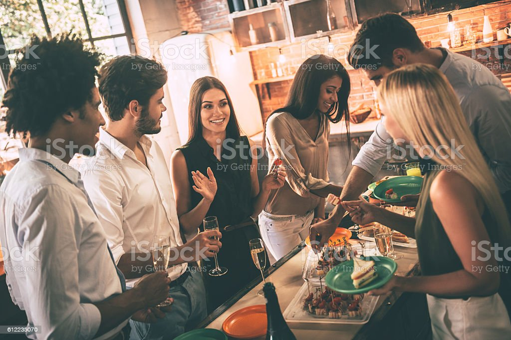 Party with best friends. stock photo