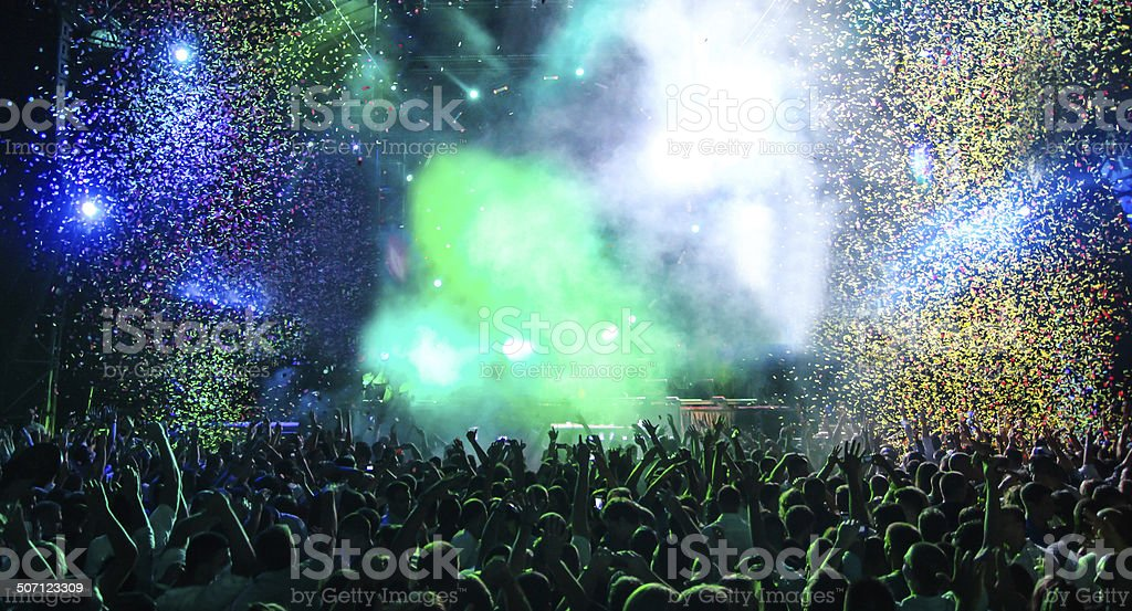 Party with lots of confetti stock photo