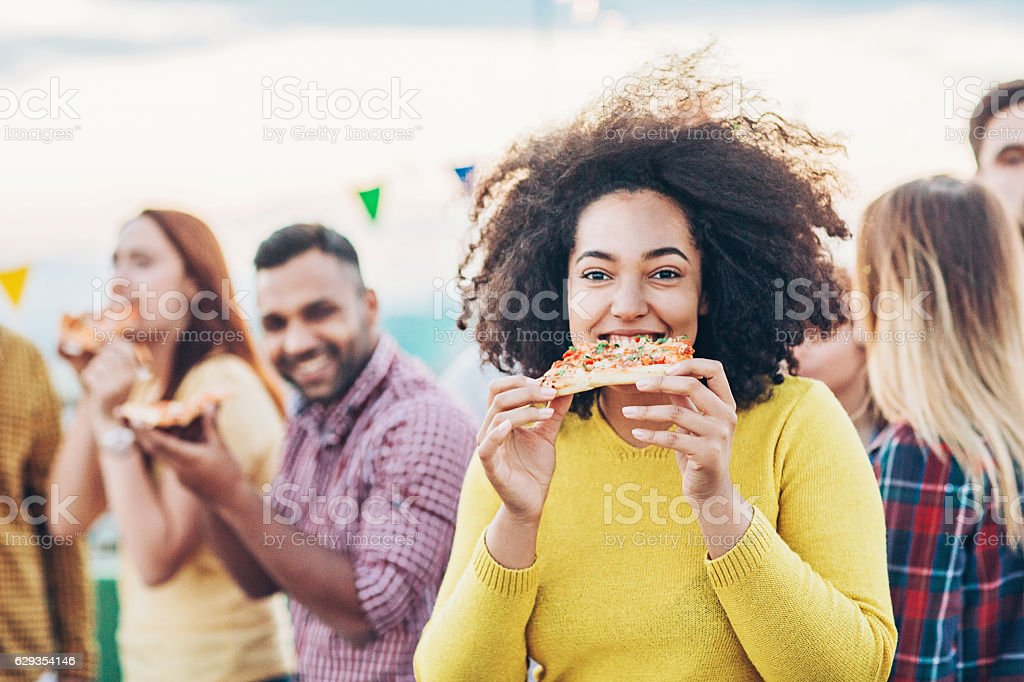 Party with pizza stock photo